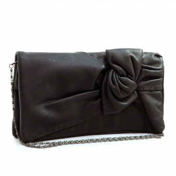 Soft fashion cross body/ clutch with decorative twisted bow flap