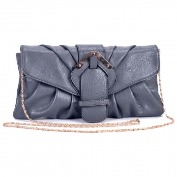 Soft fashion cross body/ clutch with decorative buckle top flap