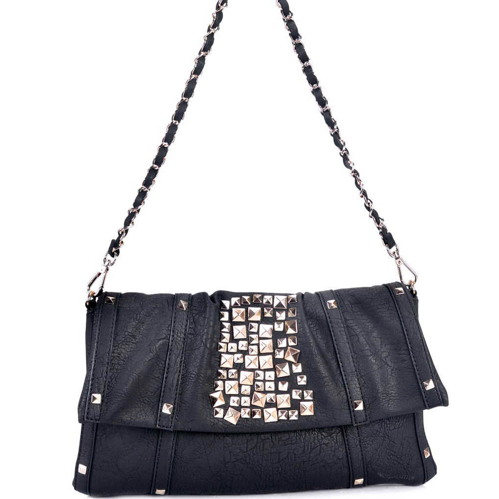 Fashion pyramid studded shoulder bag/ clutch with woven chain strap