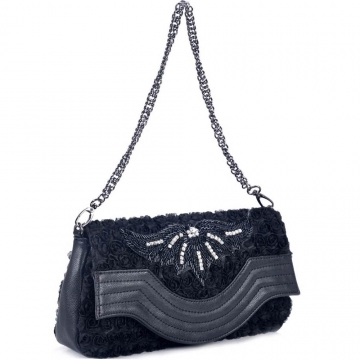 Fashion mini rosette shoulder bag/ clutch with beaded design
