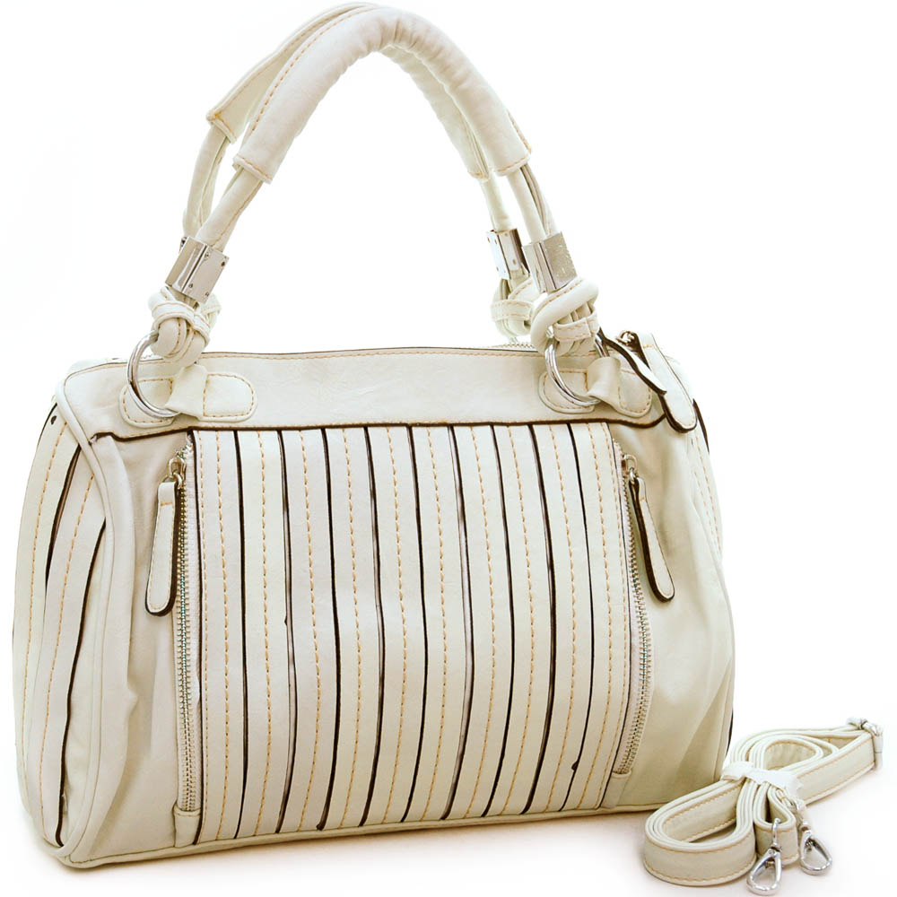 Designer inspired pleated fashion satchel bag with stitched accents