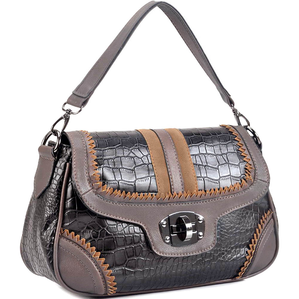 Designer inspired croco embossed 2 tone shoulder bag with fashion trim