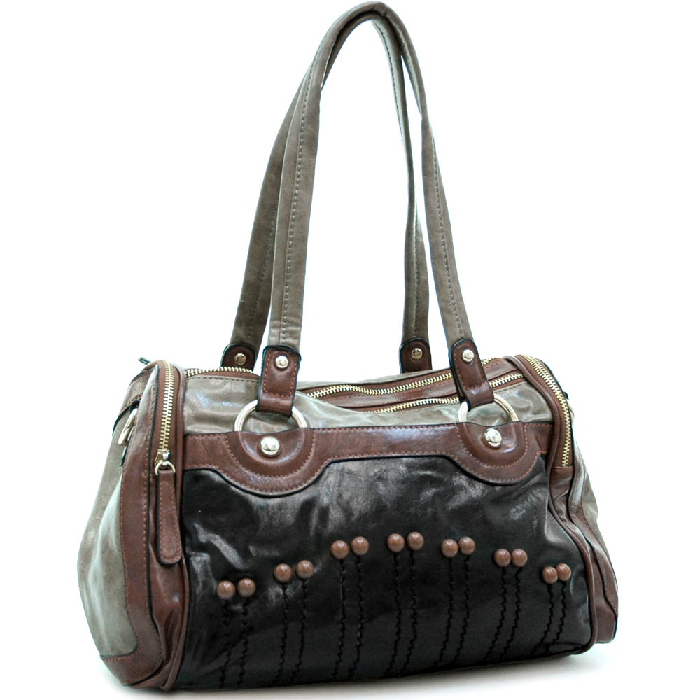 Fashion multi-color satchel bag w/ buttons & stitched accents