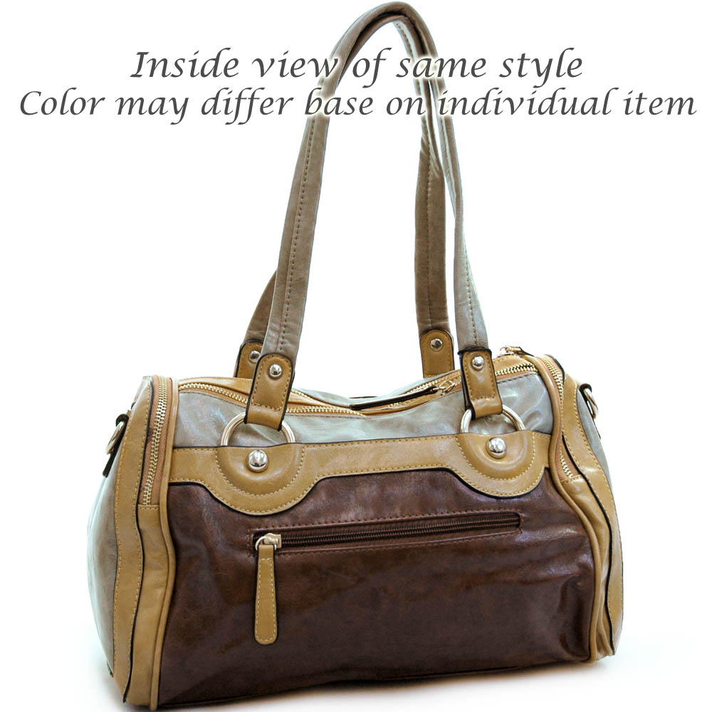 Fashion multi-color satchel bag w/ buttons & stitched accents Grey/ Coffee/ Black
