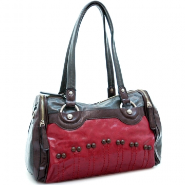 Fashion multi-color satchel bag w/ buttons & stitched accents Red/ Coffee/ Dark Grey