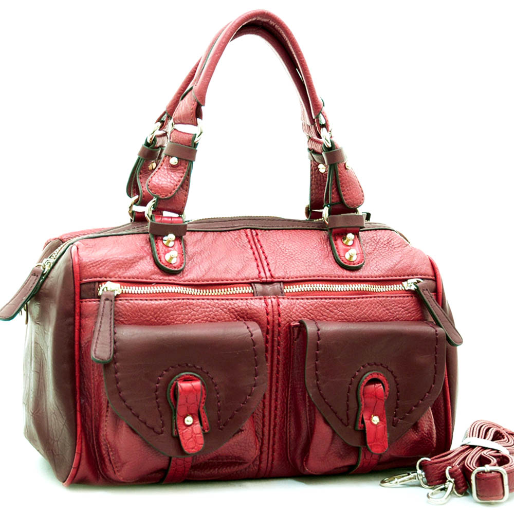 Fashion multi-color satchel bag w/ croco trim and accents