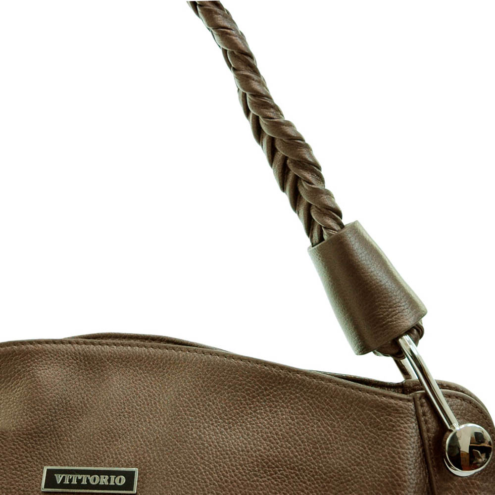 Genuine leather designer inspired fashion shoulder bag w/ braided handle