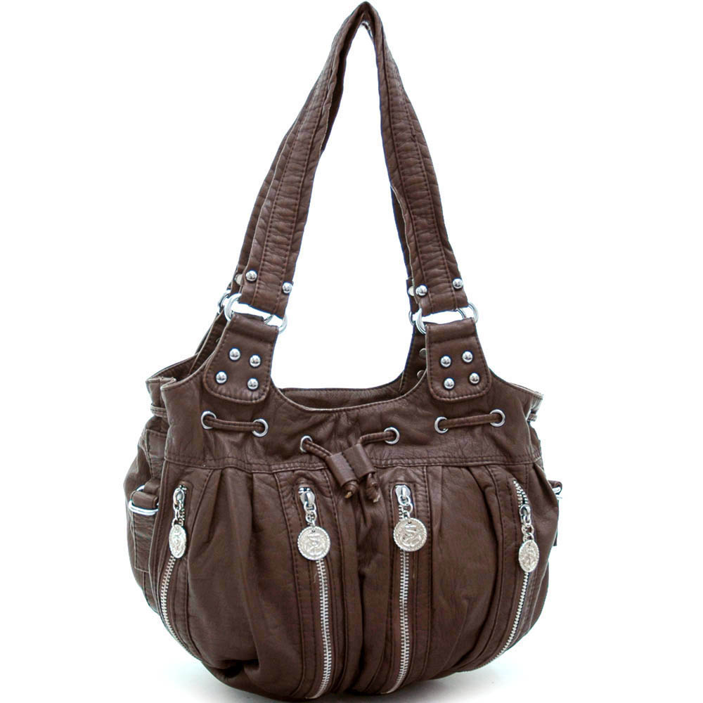 Soft stone washed hobo bag w/ anchor medallions & drawstring accents