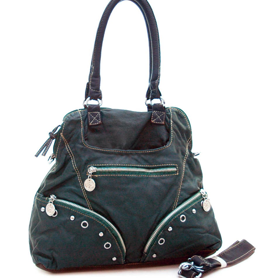 Soft fashion stone washed hobo bag w/ studs and grommet accents