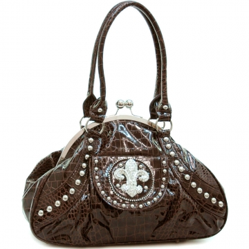 Rhinestone studded fleur de lis croco embossed satchel bag