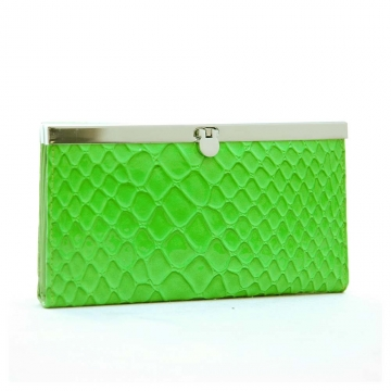 Dasein Snake Skin Embossed Accordion Frame Wallet-Green