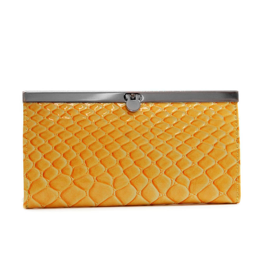 Dasein Snake Skin Embossed Accordion Frame Wallet-Yellow