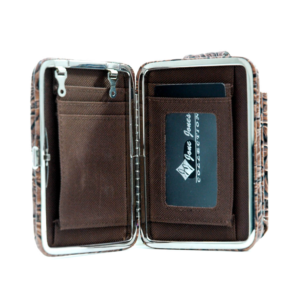 Stylish Phone Case / Frame Wallet with Floral Embossed Accent-Coffee
