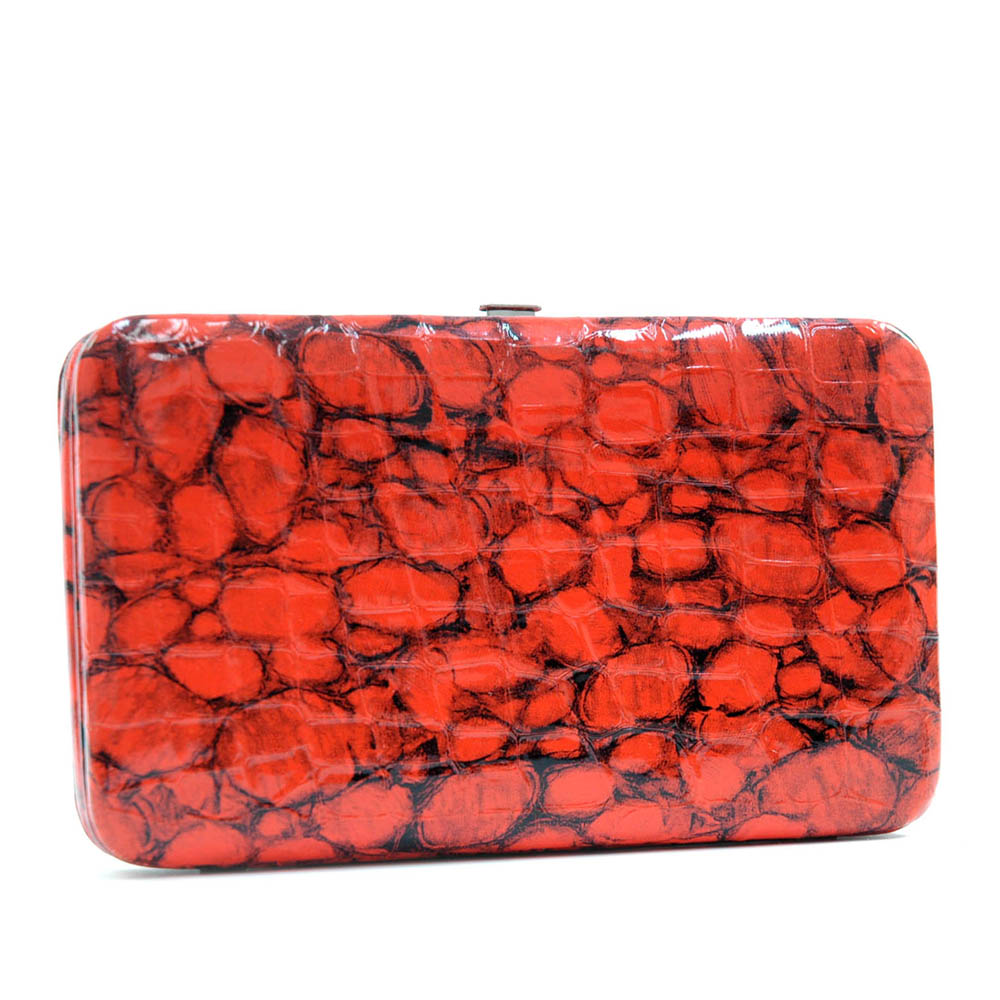 Croco embossed 2 tone stone pattern extra deep frame wallet