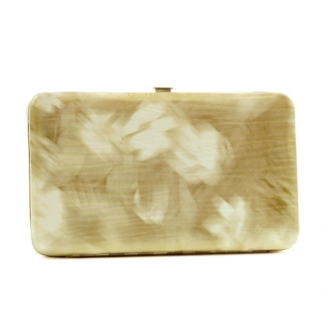 Brushed flower design extra deep iridescent frame wallet
