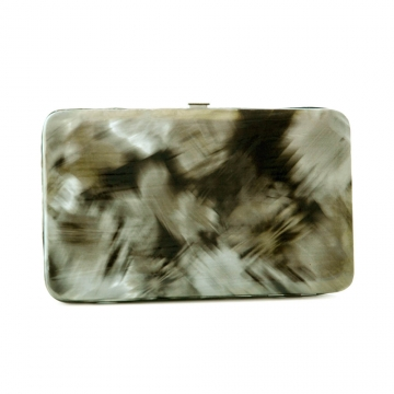Brushed flower design extra deep iridescent gold accent frame wallet