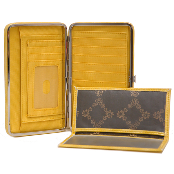 Extra deep 2 tone croco embossed frame wallet