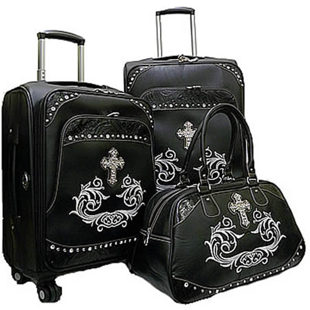 Western floral embossed trim 3-piece luggage set w/ rhinestone cross Black