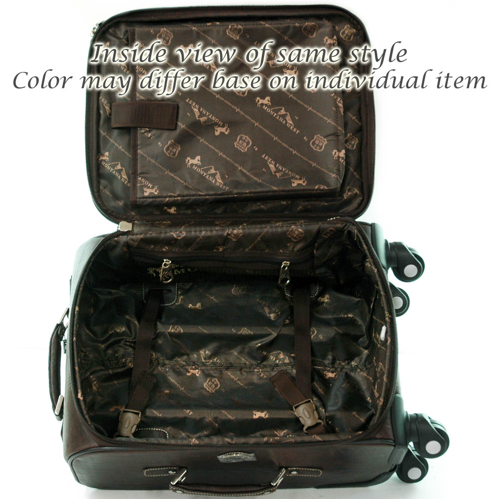 Trendy Western Croco Embossed Trim 3-piece Luggage Set with Rhinestone Cross-Black