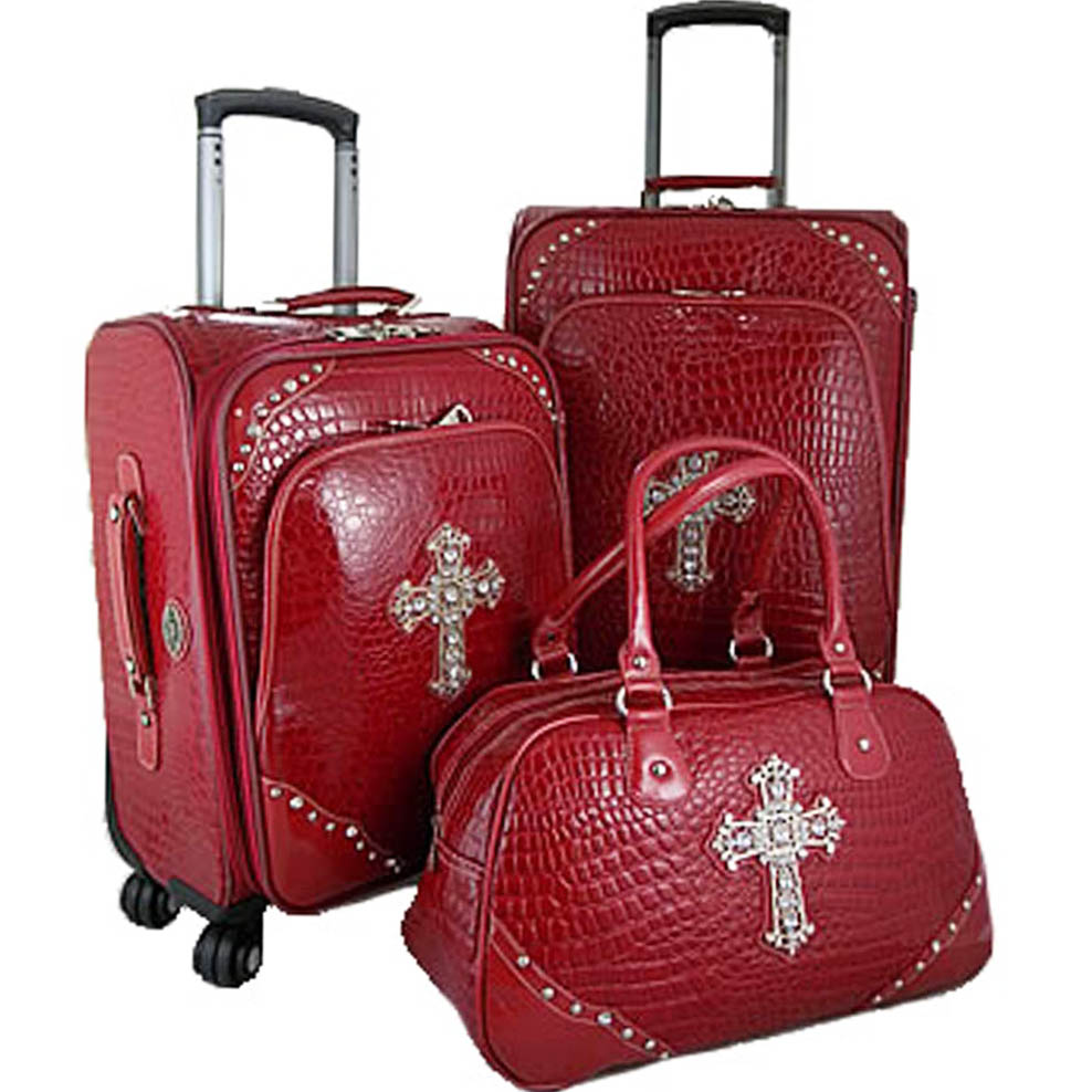 Trendy Western Croco Embossed Trim 3-piece Luggage Set with Rhinestone Cross-Red