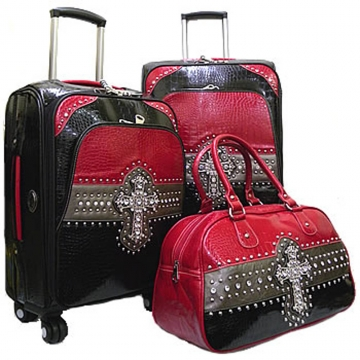 Western croco color block 3-piece luggage set w/ rhinestone cross