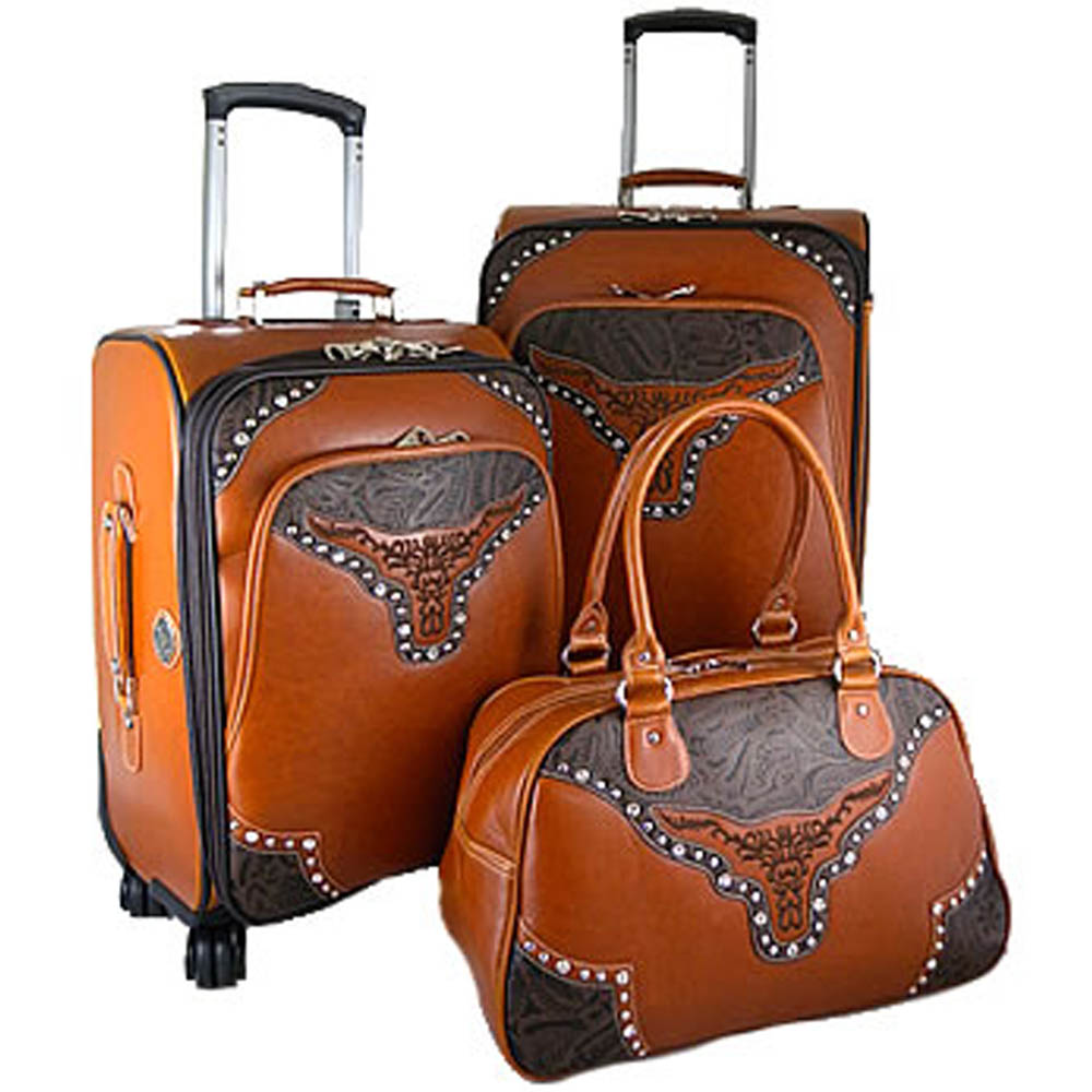 Fashion Western Longhorn 3-piece Luggage Set with Floral Embossed Trim-Orange
