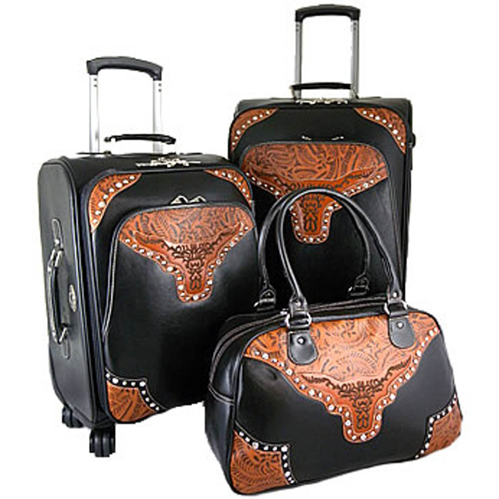 Fashion Western Longhorn 3-piece Luggage Set with Floral Embossed Trim-Black