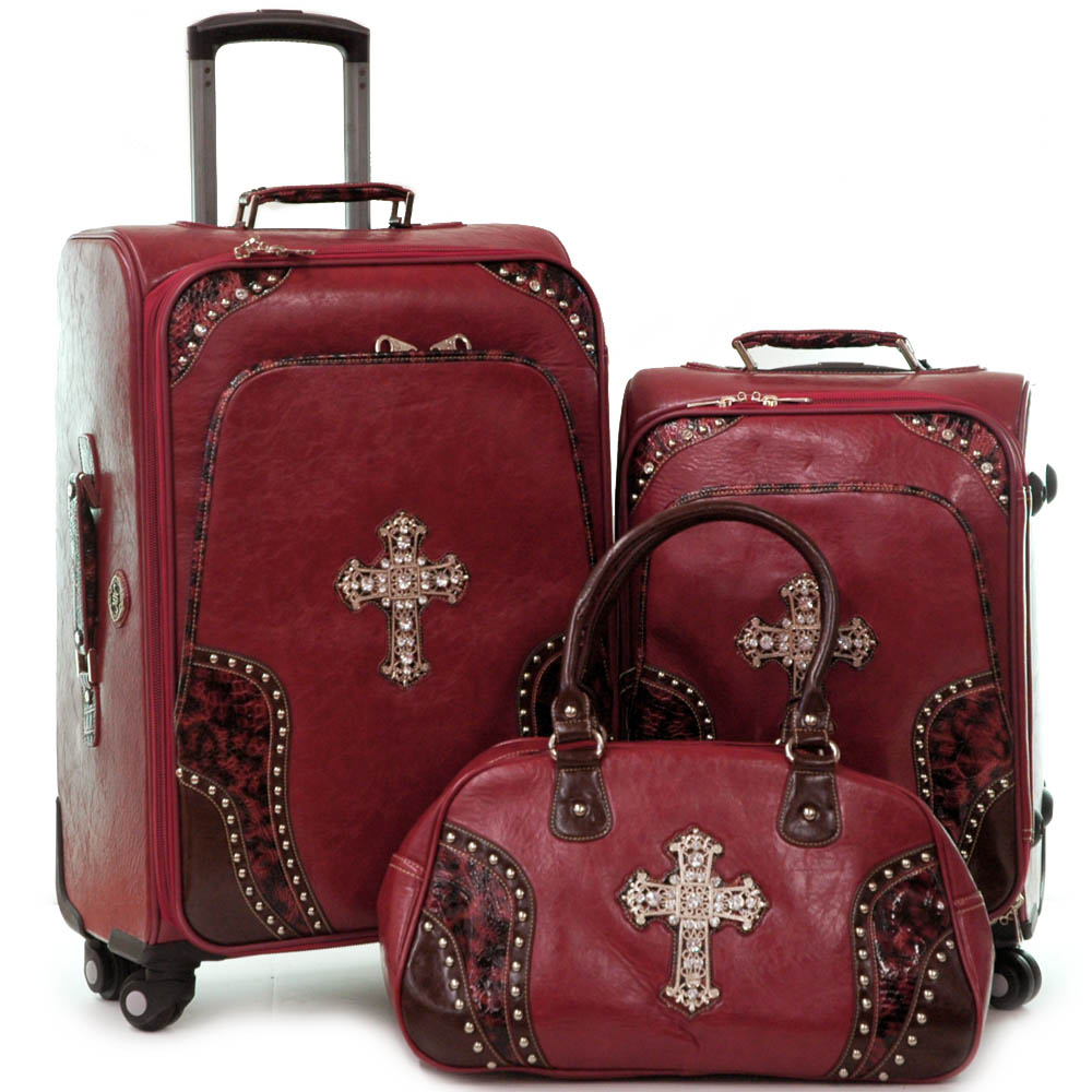 Western two tone croco trim 3-piece luggage set with rhinestone cross