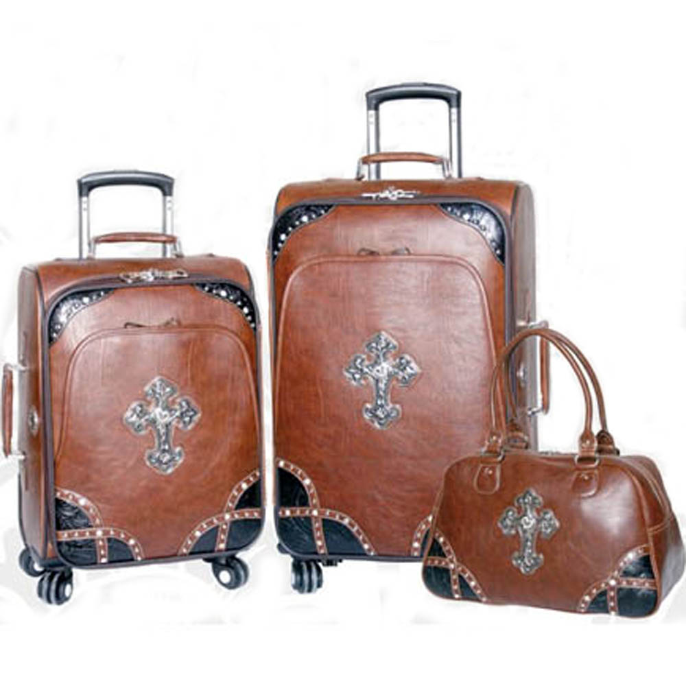 Western studded two tone 3-piece luggage set with cross symbol Brown