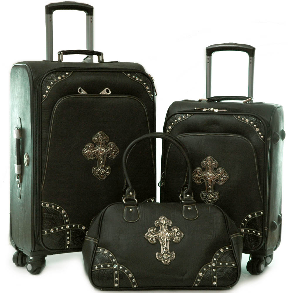 Trendy Western Studded Two Tone 3-piece Luggage Set with Cross Symbol Accent-Black