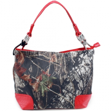 Camouflage tote bag w/ croco embossed trim shoulder strap
