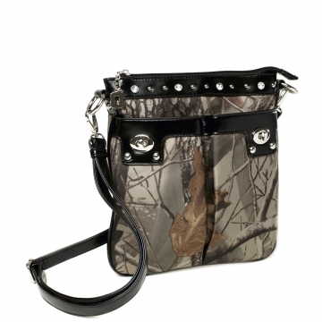 Realtree ® Camouflage Studded Accent Crossbody / Messenger Bag-Camouflage/Black
