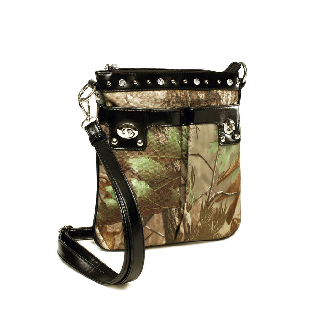 Realtree ® Fashion Camouflage Studded Accent Crossbody / Messenger Bag-Camouflage/ Black