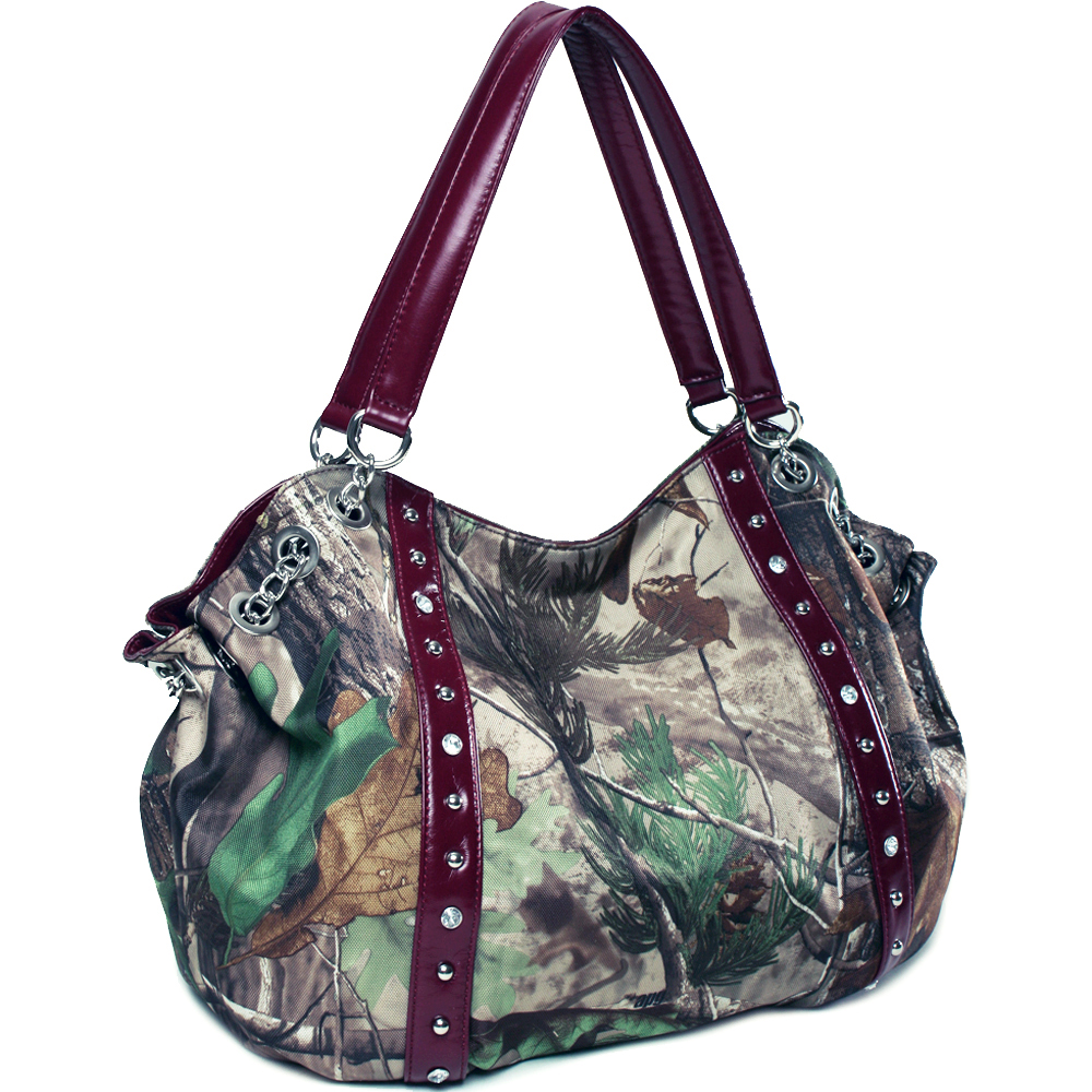 Realtree ® camouflage studded hobo bag with chain accents