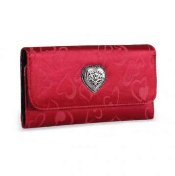 Jacquard heart pattern designer inspired checkbook wallet