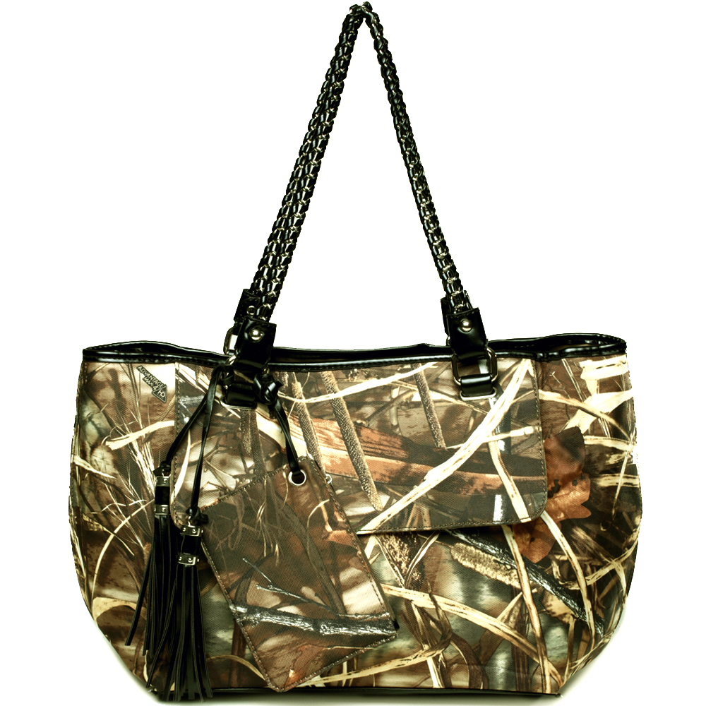 Realtree camouflage tote bag w/ coin purse tassels