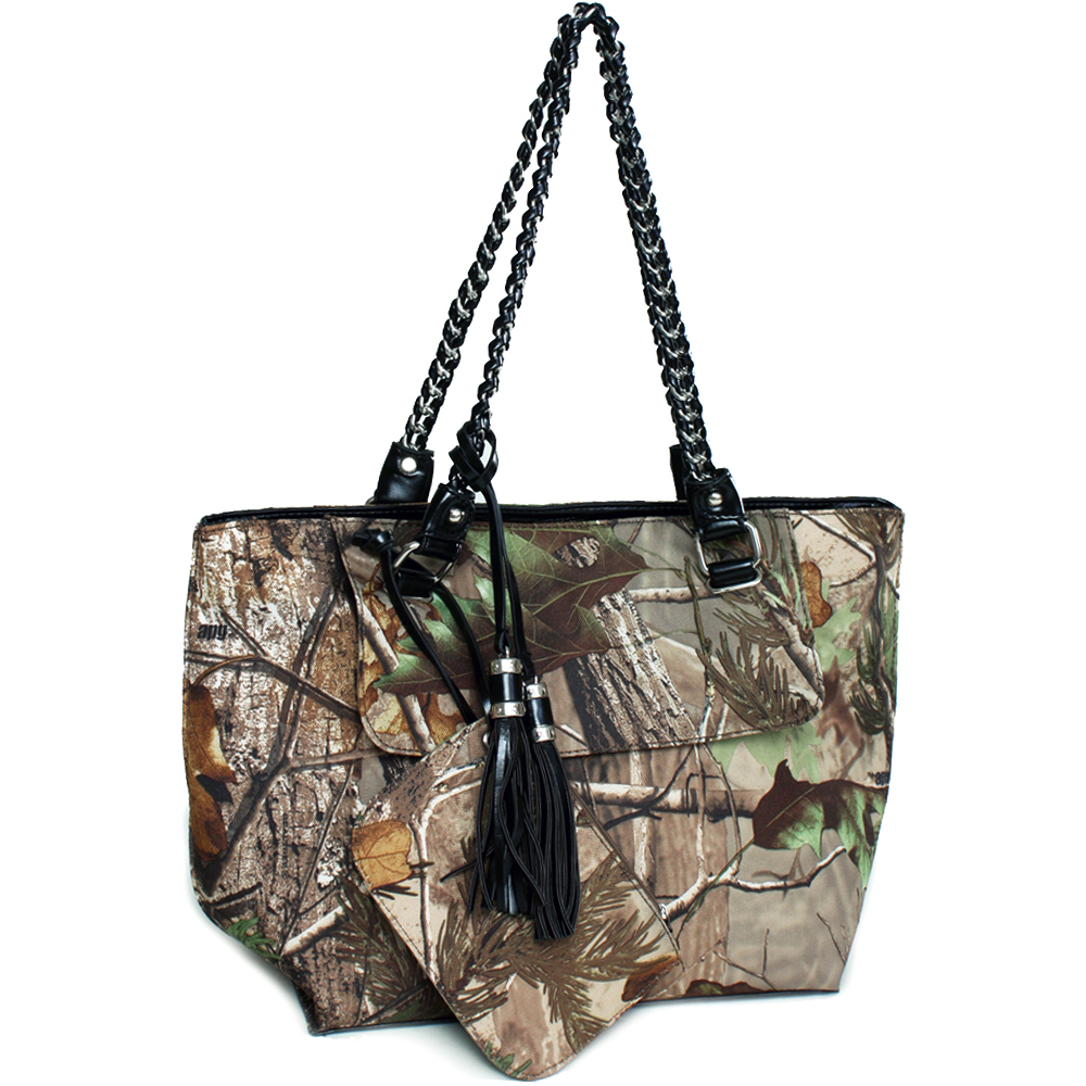 Realtree® camouflage tote bag with coin purse tassels