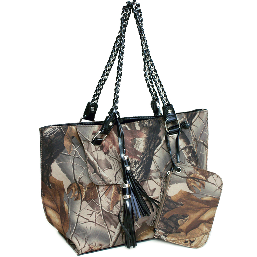 Realtree® camouflage tote bag w/ coin purse tassels