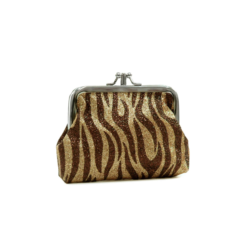 Glitter zebra pattern coin purse