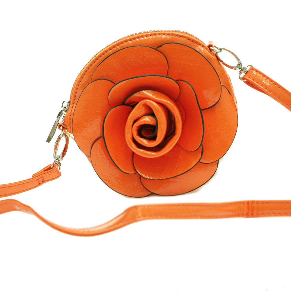 Patent embossed floral rosette clutch with detachable strap