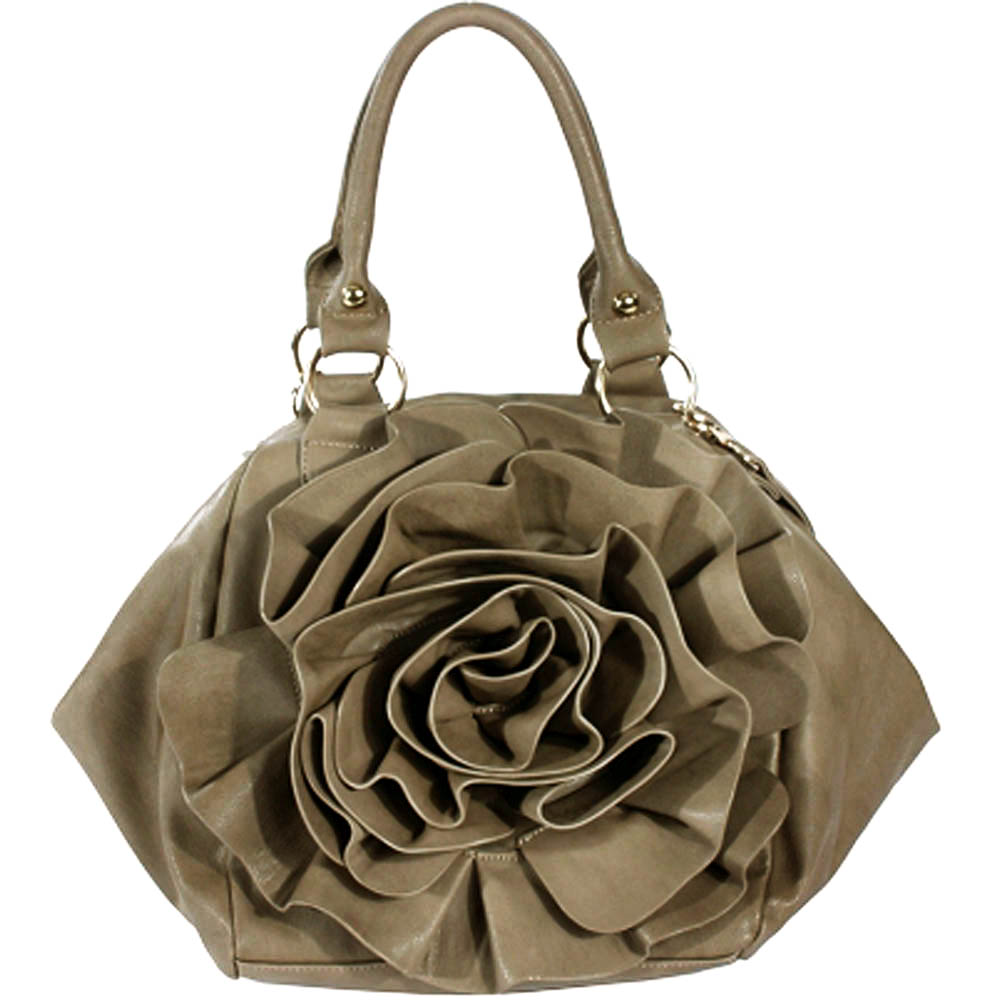 Designer inspired fashion satchel bag with floral rosette