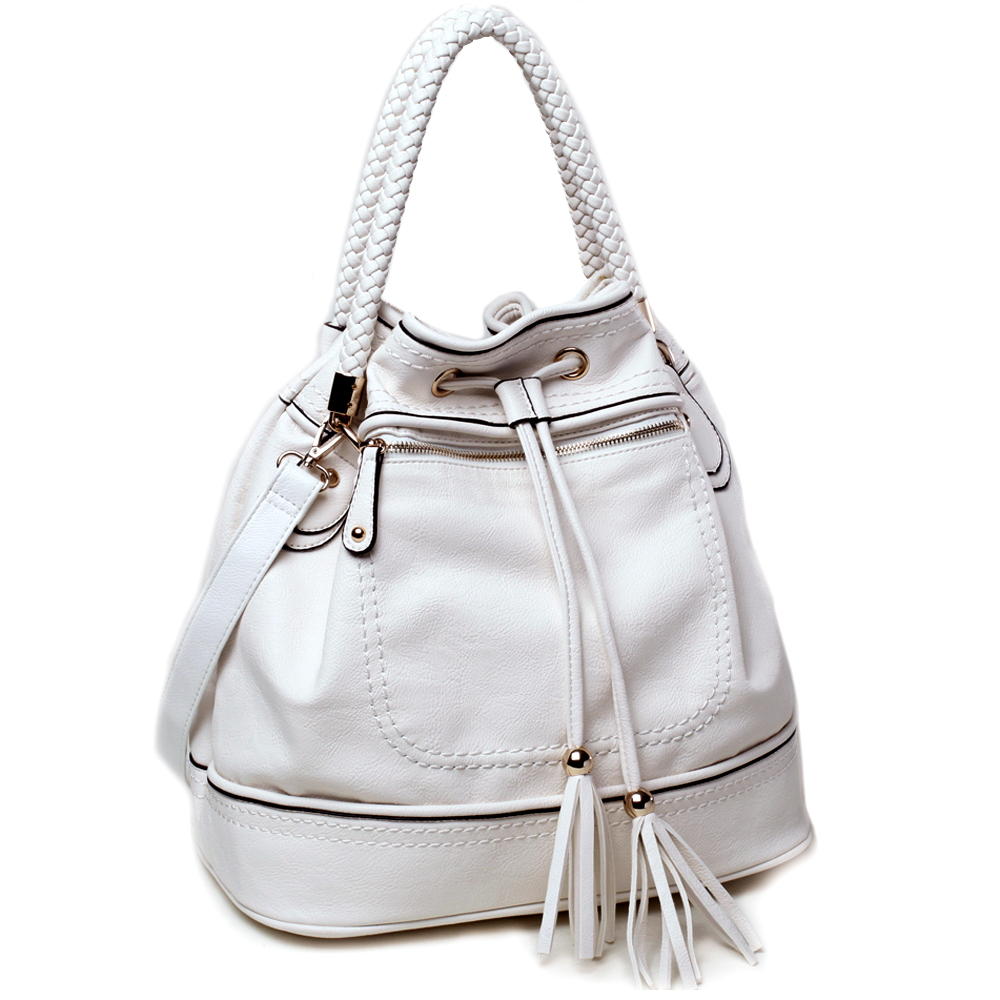 Designer inspired hobo bag w/ drawstring tassel braided strap accents