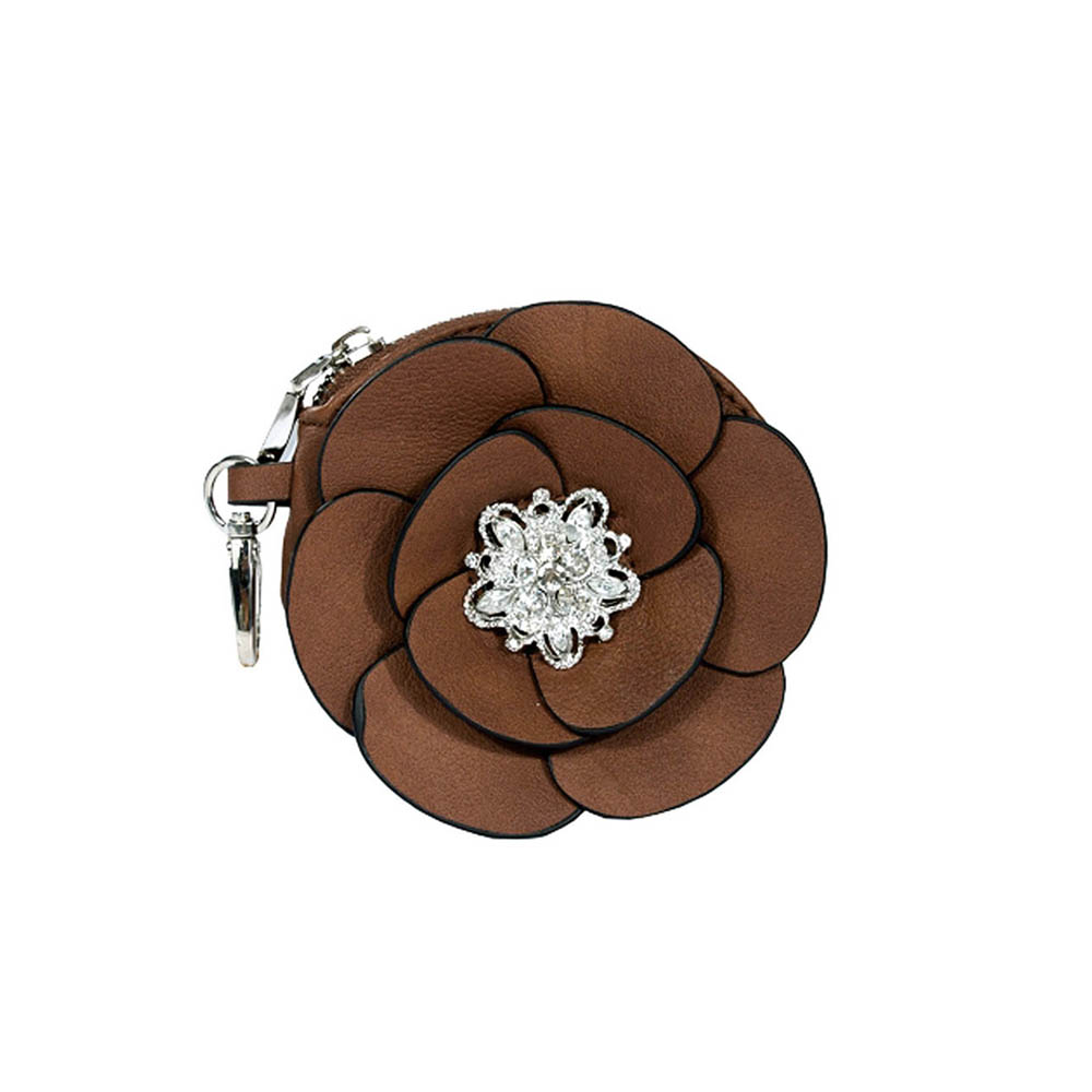 Floral rosette coin purse with rhinestone brooch