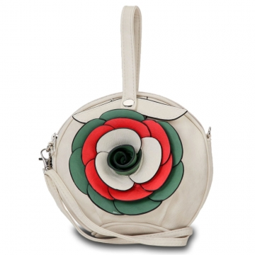 Diophy Fashion Wristlet Bag with Multi Colored Floral Rosette Accent-Beige