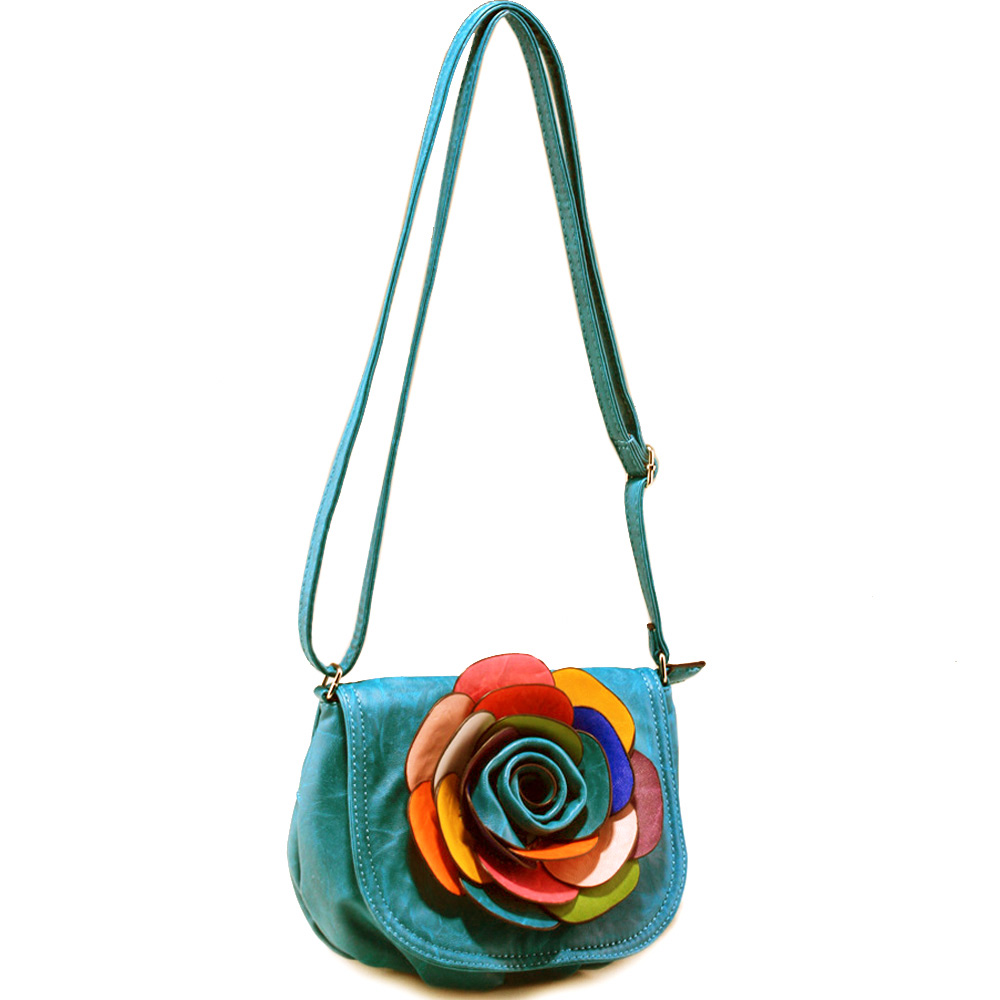 Alyssa Fashion Crossbody Bag with Multi-Color Floral Accent