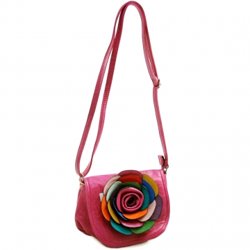 Alyssa Fashion Crossbody Bag with Multi-Color Floral Accent-Hot Pink