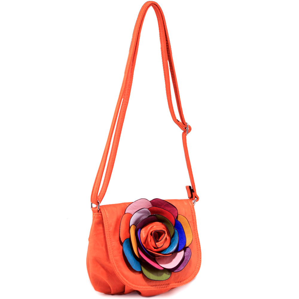 Alyssa Fashion Crossbody Bag with Multi-Color Floral Accent-Orange