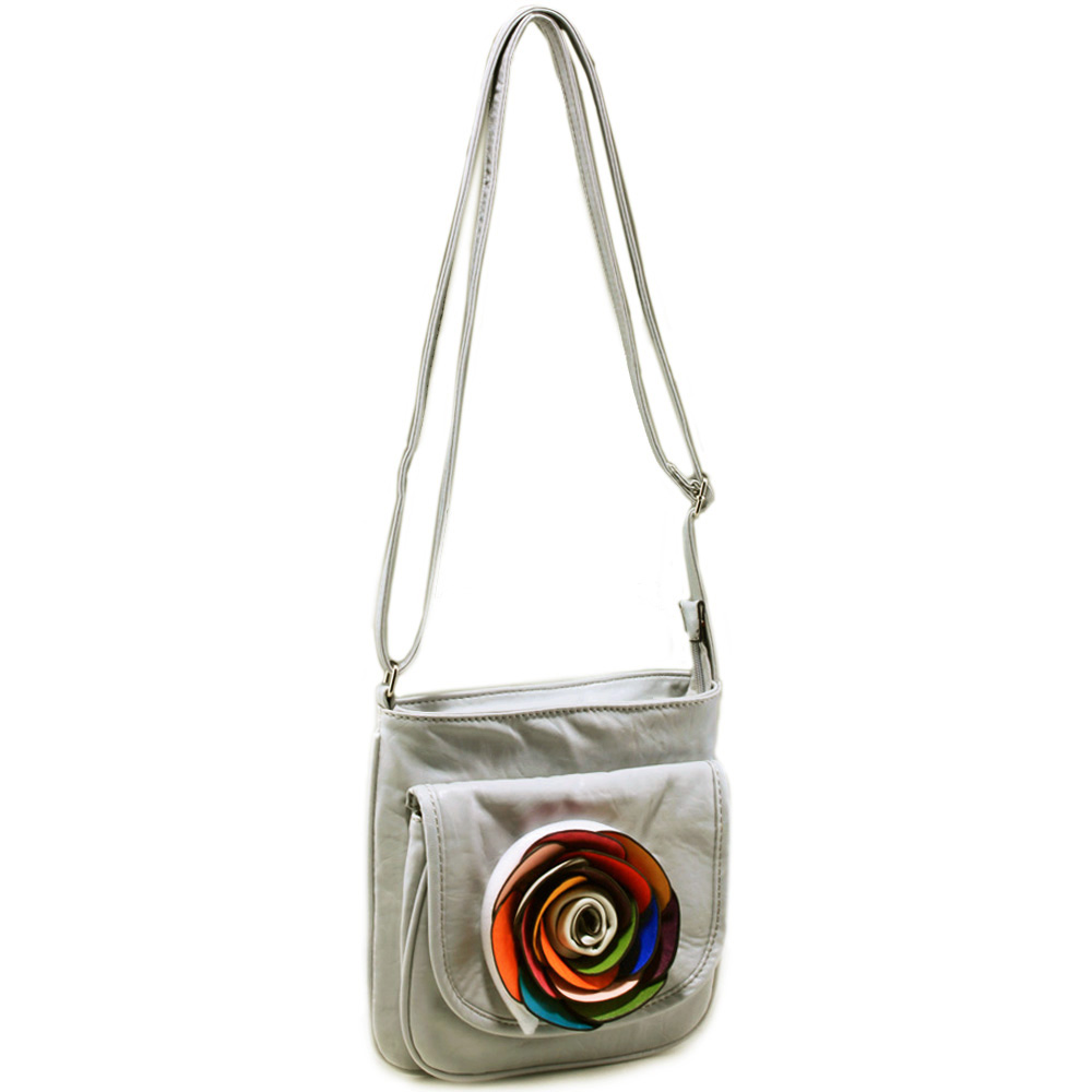 Fashion crossbody bag with multi colored floral accent