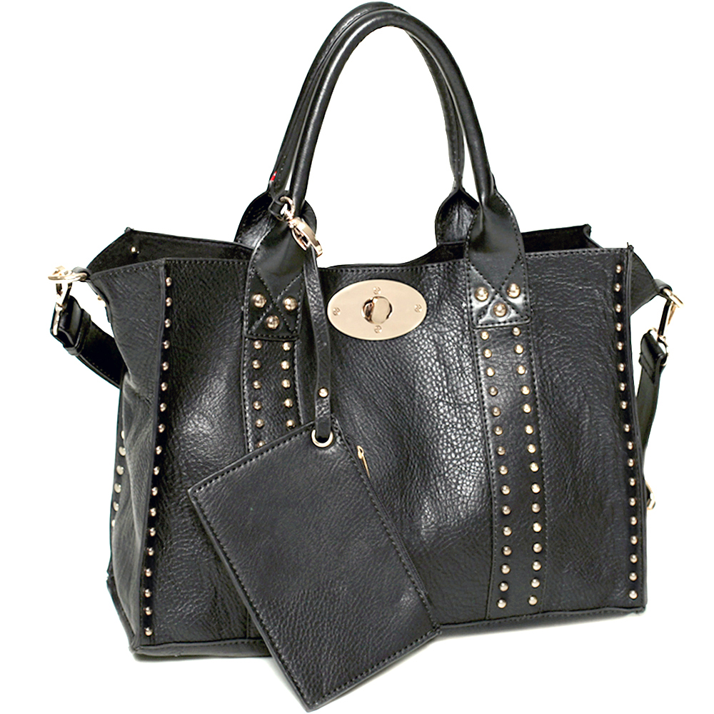Fashion studded 3 in 1 tote/ shoulder bag with coin purse, cosmetic bag