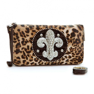 Ustyle Rhinestone Fleur De Lis Sign Checkbook Wallet with Wristlet and Shoulder Strap-Brown